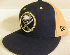 best website 6b5a1 2885e BUFFALO SABRES New Era 59FIFTY Hat NHL Hockey Blue Gold Fitted Cap Size 7 1