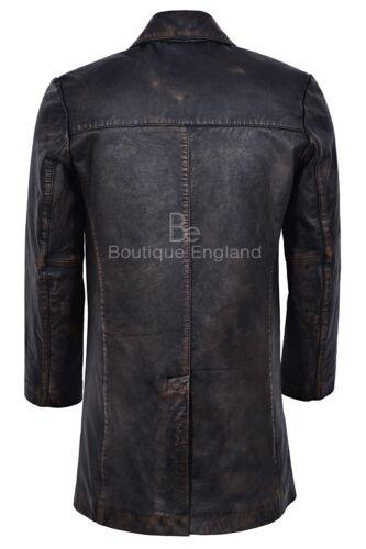 Mens Real Leather Coat Vintage Bronze Knee Length Button Closure Blazer 3476-B