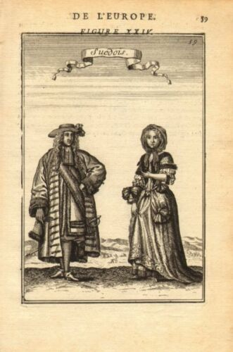 SWEDEN COSTUME Swedish man /& woman wearing 17C dress /'Suedois/' MALLET 1683