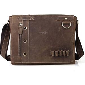 Men-039-s-Messenger-13-034-Laptop-Shoulder-Bag-Leather-Crossbody-Satchel-Bookbag-Brown