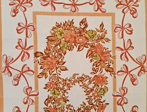 VINTAGE-AUTHENTIC-FLORAL-ART-ROSES-MUSTARD-PINK-GREEN-BROWN-COTTON-KITCHEN-TOWEL