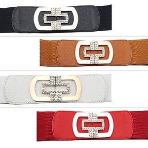 Stylish-Women-Ladies-Belt-Elasticated-Stretchy-Rhinestones-Metal-Gold-Buckle-495