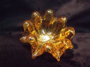 VINTAGE-MCM-CHALET-CANADA-HAND-BLOWN-AMBER-LEAD-CRYSTAL-PINCH-GLASS-3-034-BOWL