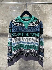DIOR AND SHAWN Total Pattern Wool Knit Sweater Size M