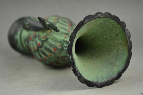 Exquisite Old Collectibles Bronze Carve Pair Auspicious Peacock Rare Noble Vase