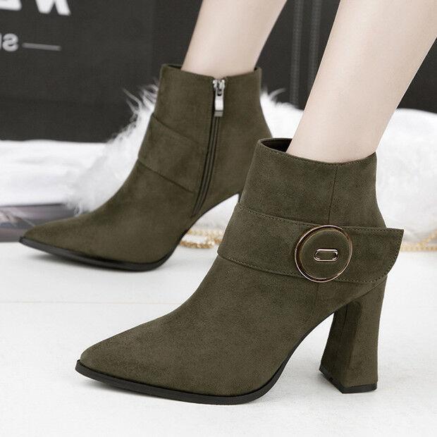 stivali stivaletti bassi scarpe stiletto 9 cm verde  eleganti simil pelle 9607