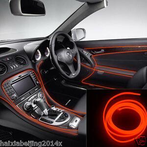 6.5ft RED EL-Wire 12V Car Interior Decor Fluorescent Neon Strip Cold ...