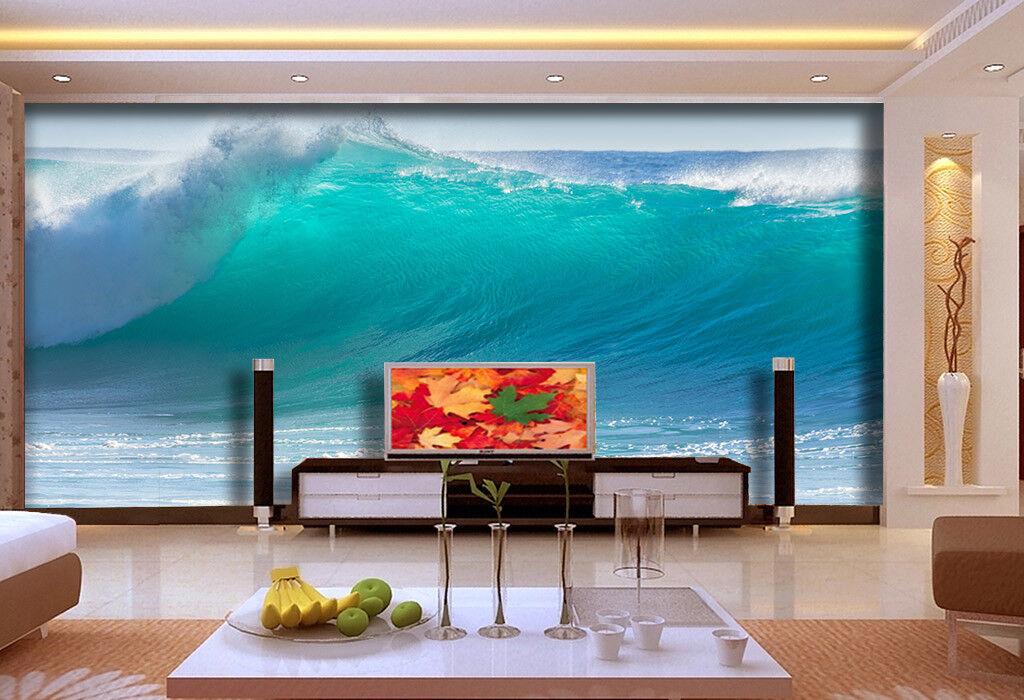 3D bluee Waves 997 Wallpaper Mural Paper Wall Print Wallpaper Murals UK Lemon
