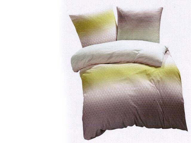 Living Dreams 1 x Bettwäsche Set 155 x 220 und 80 x 80 Mako Satin steel Grün   | Neues Design