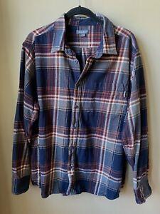 Eddie-Bauer-Mens-Button-Down-Long-Sleeve-Red-Navy-Plaid-Flannel-Shirt-XXL