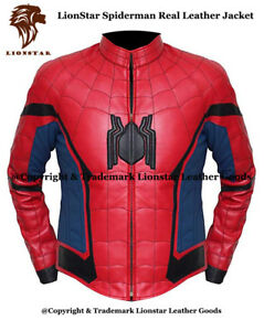 Spiderman Lionstar Fancy Stylish Jacket Real Unisex Casual Leather ppwfqx8