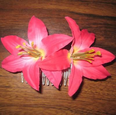 "3 1//2/"" Mango Lily Silk Flower Hair Comb Aloha Luau Tropical Beach Wedding"