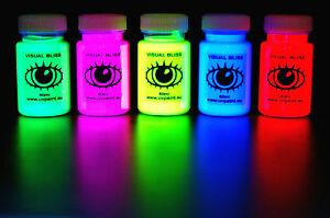 UV Artist Set 5x U.V. Neon Glow Blacklight Ultraviolet Fluorescent U-V Art Paint