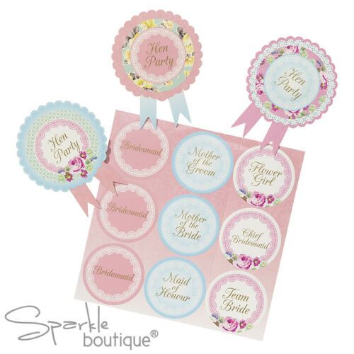 Classy hen night//parti badges-shabby chic//style vintage floral guest rosettes