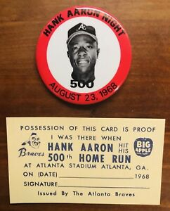 HANK-AARON-NIGHT-500-HOME-RUN-PINBACK-BUTTON-8-23-1968-MINT-amp-I-WAS-THERE-CARD