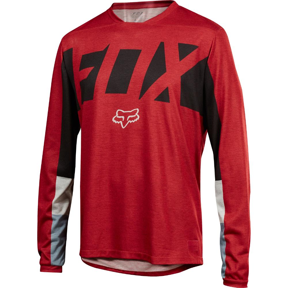 Fox Racing 2018 Indicator Long Sleeve LS Drafter Jersey Dark rosso