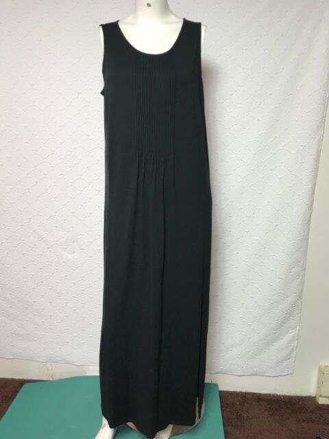J. Jill Black V-Neck Button Down Maxi Dress SZ M