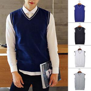 Primavera-Hombre-Sueter-Tejido-Camiseta-calido-cuello-en-039-V-039-Sin-Mangas-Jersey
