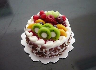 Chocolate Fruit Cake Dollhouse Miniatures Food Deco Bakery