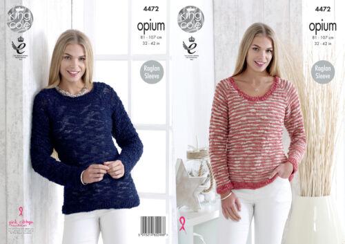 Ladies Raglan Sleeve Sweaters Jumpers Knitting Pattern King Cole Opium 4472