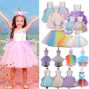 Kids Girls Unicorn Princess Bridesmaid Pageant Wedding Party Tulle Tutu Dress UK