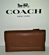 New COACH Authentic Saddle Brown Pebbled Leather Wallet F52715 & COACH Bag