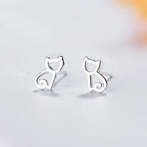 925-Sterling-Silver-Cutie-Cat-Hollow-Stud-Earrings-Womens-Girls-Jewellery-Gift