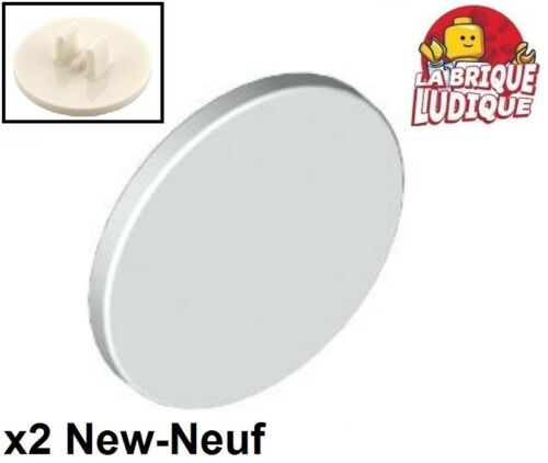 Lego 2x Road sign panneau clips crochet rond round 2x2 blanc//white 30261 NEUF