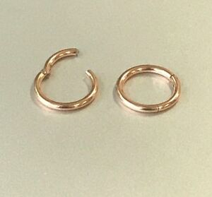 20G-18G-16G-14G-Surgical-ROSE-GOLD-HINGED-Segment-Nose-Ring-Septum-Clicker-Daith