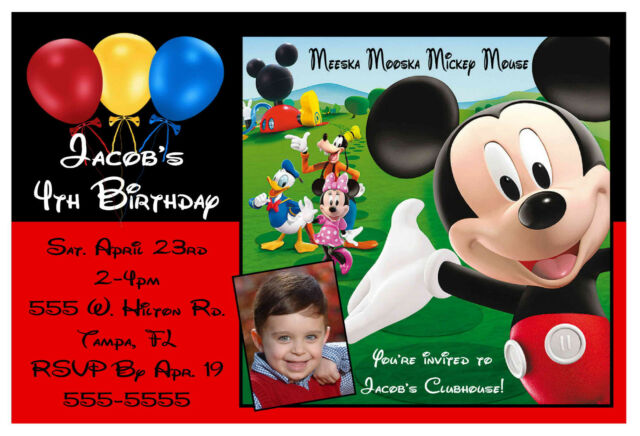 Mickey Mouse Clubhouse Birthday Party Invitations Design W Photo Ebay
