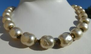 GORGEOUS-Vintage-BAROQUE-PEARL-Adjustable-NECKLACE-By-Miriam-Haskell