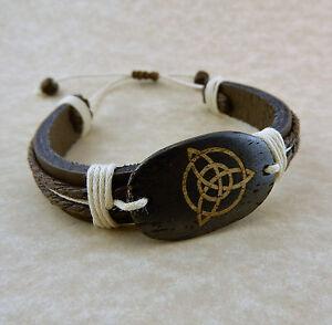 Adjustable Unisex Celtic Tinity Knot Leather bracelet