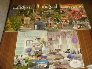 5 x Zeitschrift Landlust Liebes Land Wohnen&Garten Sommerlust ...
