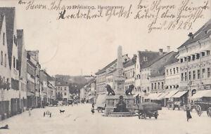 AK Freising, Hauptstraße mit Kriegerdenkmal; Idyll mit Hund und Kind, gel. 1911