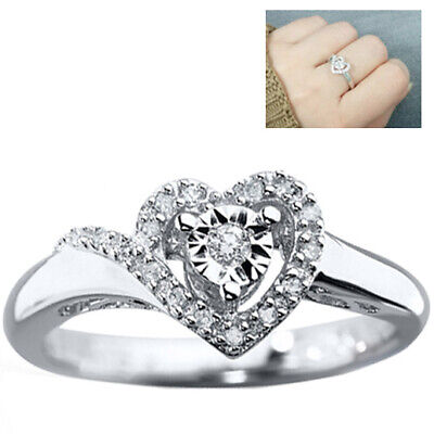 shiYsRL Exquisite Jewelry Ring Love Rings Engagement Wedding Double Heart Cubic Zirconia Inlaid Bridal Finger Ring Jewelry Wedding Band Best Gifts for Love with Valentines Day