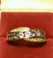 Fine Vintage Art-Deco 9ct con Diamante Oro Y & Tanzanite Anello Di Cluster Taglia o1/2