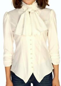 SM-Off-White-NEW-Gothic-Pearl-Button-Victorian-Ruched-Blouse-Top