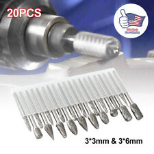 20pcs Head Tungsten Carbide Rotary Drill Bits Burr Die Grinder Shank Carving Set