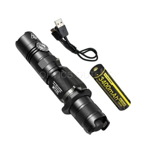 NITECORE MT22C Rotary Switch LED Flashlight /& High Capacity Rechargeable Battery