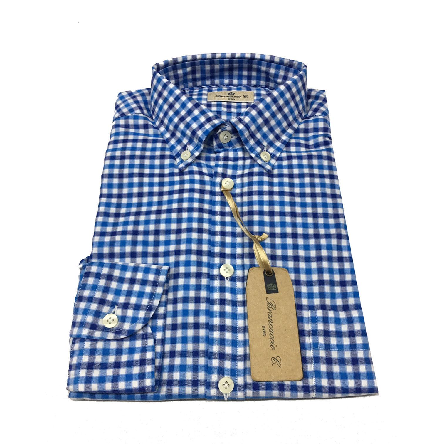 BRANCACCIO herren langarm-shirt kader blue blue 100% baumwolle weste komfortabel