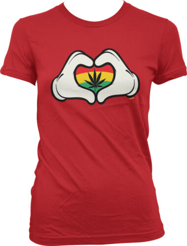 Cartoon Heart Hands Rasta Flag Weed Pot MaryJane Juniors T-shirt