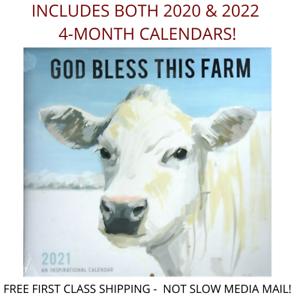 2021 God Bless This Farm Calendar Calender Cow Pig  Goat Chicken Barn Animal