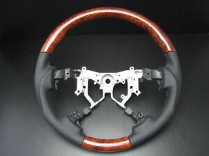 Toyota-TUNDRA-2nd-Gen-2007-2013-Burl-wood-genuine-leather-steering-wheel-SPORTS
