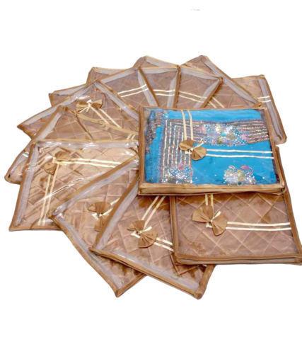 12 PCS 2 INCH SAREE SHIRT BEDSHEET GARMENT COVER ORGANIZER STORAGE GIFT BAG gold