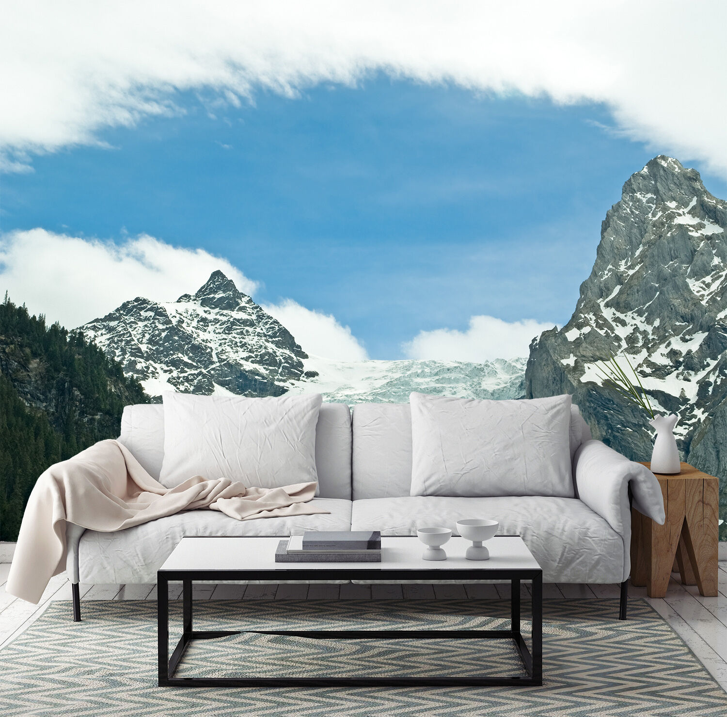 3D Snow Mountain Weiß Wall Paper Print Decal Wall Deco Indoor wall Mural