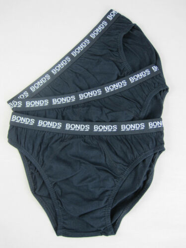 Bonds Boys Kids 3 Pack Cotton Briefs Underwear sizes 4  6 8 10 Colour Black