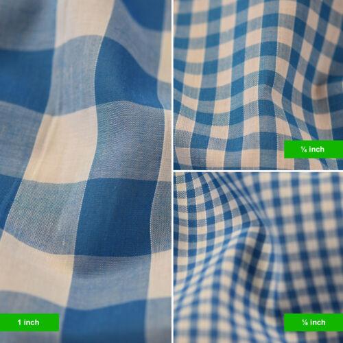 """1//8 Material de poli algodón Tela Guinga Cuadros Vestido Craft uniforme comprobado 1/"""" 1//4/"""""""