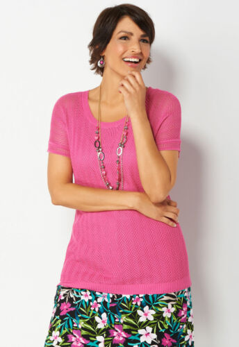 CJ BANKS Simple Pullover Sweater Lightweight Open Knit Top Pink Sz Small Large
