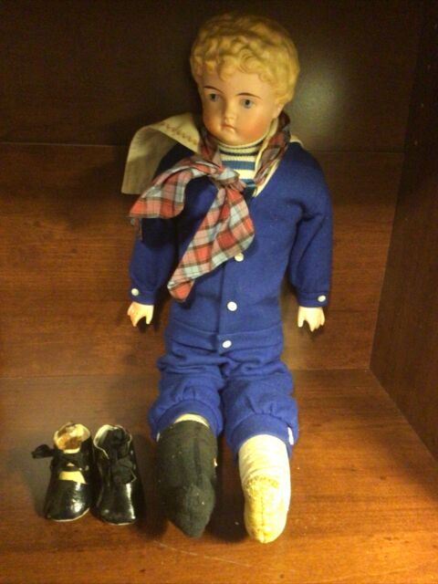 """Antique Bisque Kling 21"""" Child Doll w/Leather Body Sawdust Filled c.Early 1900s"""