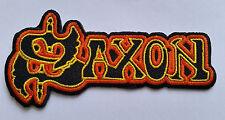 PUNK ROCK HEAVY METAL MUSIC SEW ON / IRON ON PATCH:- SAXON (b) ORANGE STRIPE